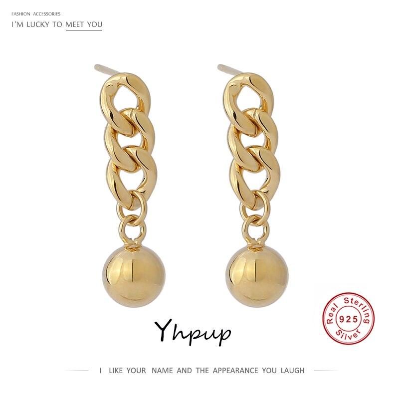 Yhpup 100% 925 Solid Sterling Silver Chain Drop Earrings For Women Stylish Geometric Pendant Metal Ball Earrings Fine Jewelry