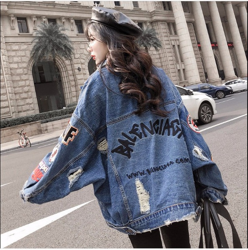 2019 Harajuk Loose Denim Jacket Women Embroidery Jeans Coat Hip Hop Hole Single Breasted Jeans Jacket Casual Women Jacket SA-85