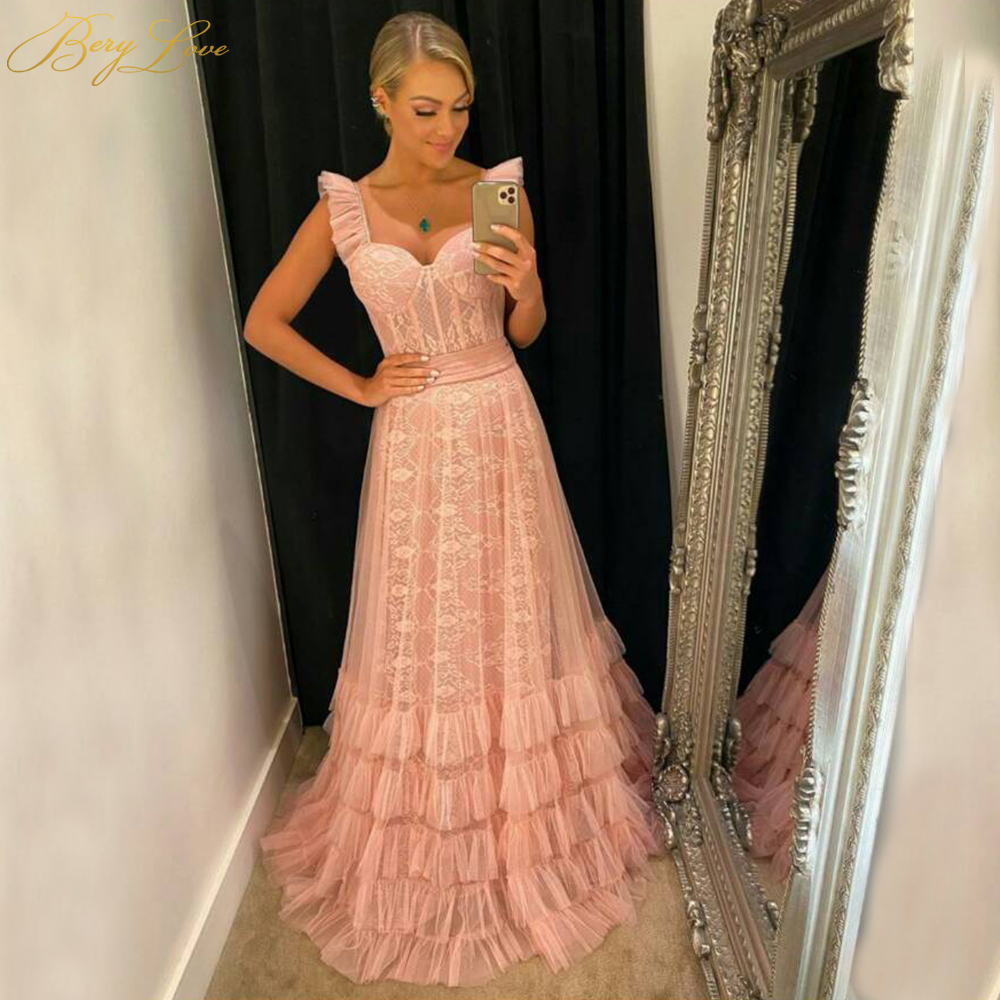 BeryLove Blush Evening Dress 2020 Coral A Line Lace Lining Design Straps Sweet Evening Prom Gown Layers Tulle Formal Dress New