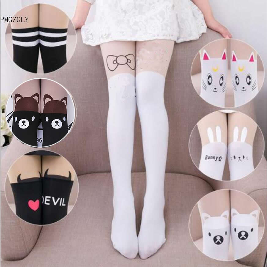 Baby Cute Pantyhose Kids Tights Knee Fake Velvet Stocking White Cartoon Cat Children's Princess Girl Tights Stockings Tights