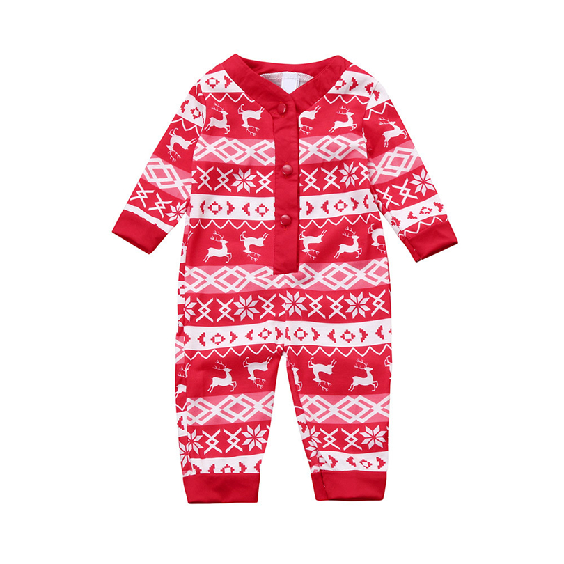 Newborns Christmas   Romper   Infant Baby Girl Boy Snowflake Deer Print Jumpsuit Winter Long Sleeves Button Family Clothes 3-18M A20