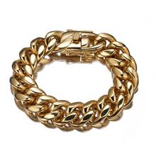 New Arrival 18mm 316L Stainless Steel Miami Curb Cuban Link Chain Gold Color Bracelet Mens Link jewelry Bangles gold color heavy huge stainless steel miami curb cuban link chain bracelet bangle 8 11 inches customized length for men 16 18mm
