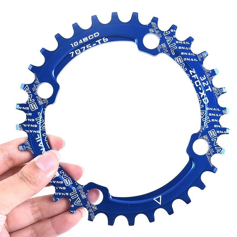 1pc 32t corrente anel 104 bcd redonda estreita ampla placa de dente 104 bcd chainwheel 32t dente mtb mountain bike chainwheel