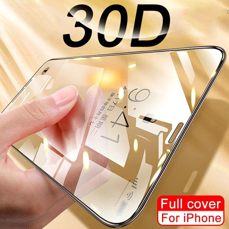 Protetor de tela 30d para iphone 11, protetor de tela de vidro temperado para iphone 10 7 xs pro max xr x filme 8 6 6s plus se 2020 xr