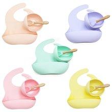 3 шт нагрудники для новорожденных + тарелка на присоске набор