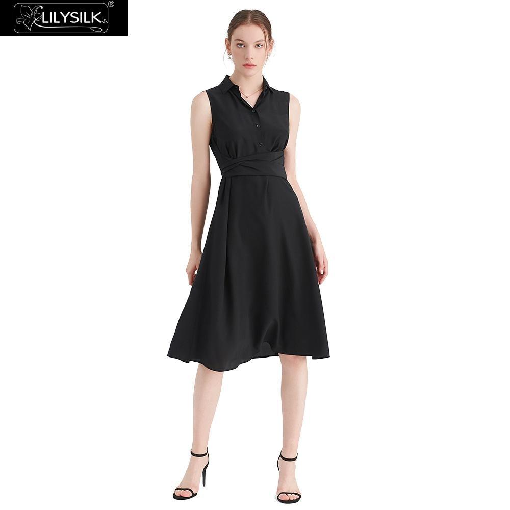LilySilk vestido camisa seda cuerpo favorecedor señoras envío gratis-in Vestidos from Ropa de mujer    1