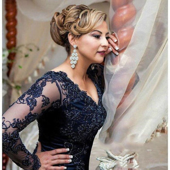 Long sleeves Sheer Neck Long Sleeve Lace Chiffon Mother of the bride gown Plus Size mermaid robe de soiree evening Prom Dresses sexy long sleeve lace sequin dubai style a line formal arabic evening prom gown robe de soiree 2018 mother of the bride dresses