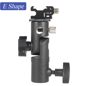 """Image 1 - D/E/C şekli evrensel Metal flaş braketi standı sıcak ayakkabı Speedlite şemsiye tutucu ile 1/4 """"3/8"""" Vidalı bağlantı döner adaptör"""