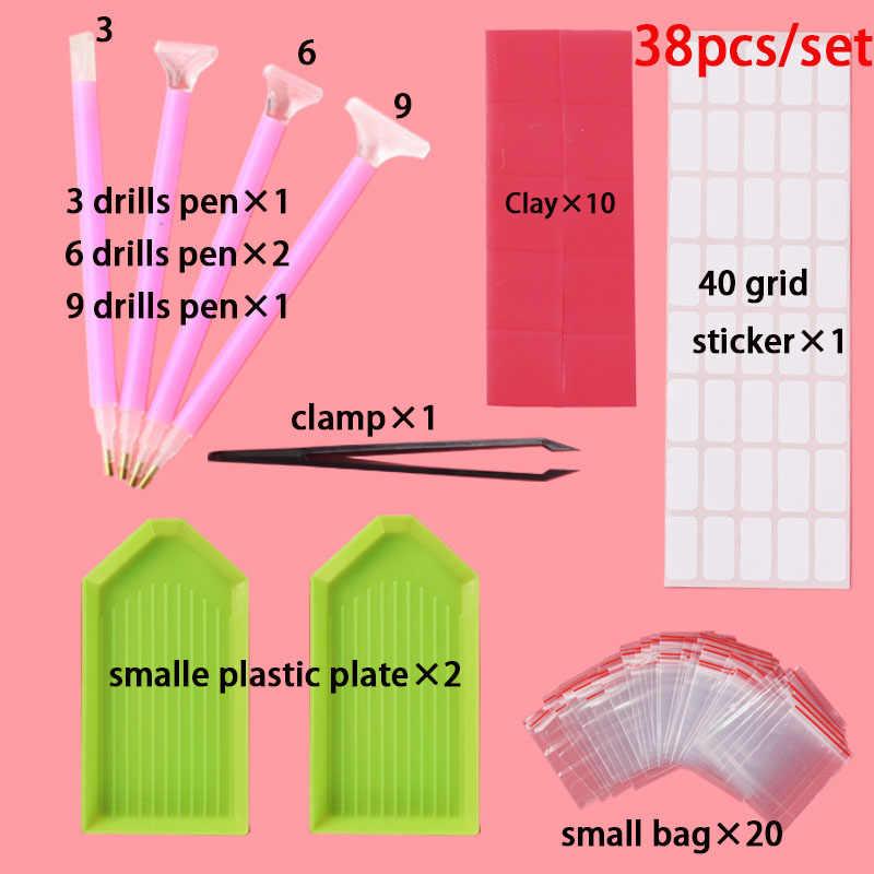 5D יהלומי ציור כלים ואבזרים ערכות רולר עט חימר מגש stylo יהלומי רקמת מגש תיבת סטים