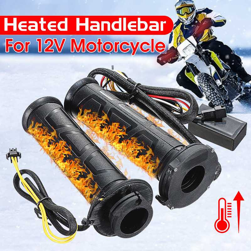 Warmer Handlebar Motorcycle-Grip Heated-Grips Electric 22mm Black 2pcs Winter Hot 7/8 title=