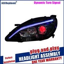 Faróis para peugeot 408/308s 2014 2018 led/xenon baixo feixe de alta luz de circulação diurna led sequencial turn signal 1 par