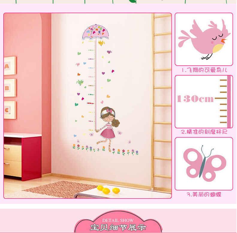 Anak-anak Gadis Payung Mengukur Tinggi Stiker Dinding Decal Perekat Wallpaper Vinyl Mural Bayi Gadis Anak Laki-laki Kamar Nursery Dekorasi