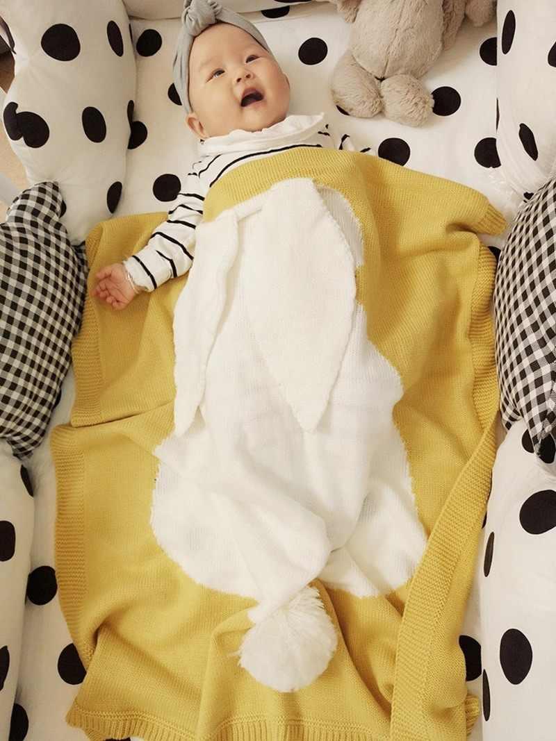 Koce dla dzieci dzianiny śliczne 3D królik noworodka Bebe owijka dla niemowląt koc wiosna lato dzieci wózek pościel pościel okładka kołdra
