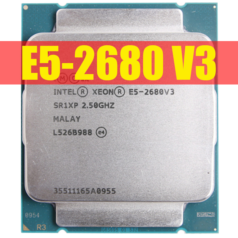Intel processador xeon e5 2680 v3, processador sr1xp 2.5ghz 12 core 30mb de soquete lga 2011-3 cpu e5 2680v3 cpu E5-2680V3