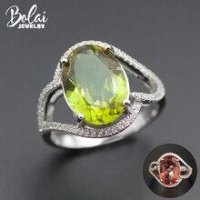 Bolai bague ovale en argent Sterling 925 pour femmes, 14x10mm, bijoux fins en pierre précieuse, couleur changeante, Nano diapositive, collection 11.11