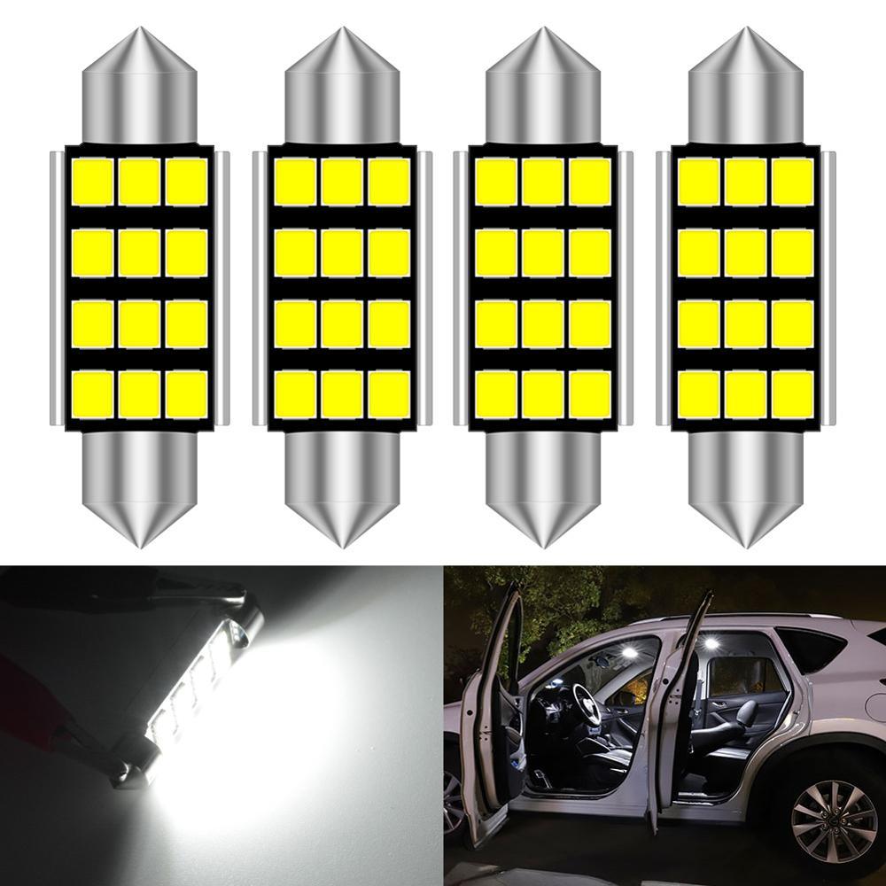 4 pces c5w led c10w lâmpada interior do carro luz festão 31mm 36mm 36mm 41mm leitura cúpula lâmpada da placa de licença 12 v 6000 k branco nenhum erro
