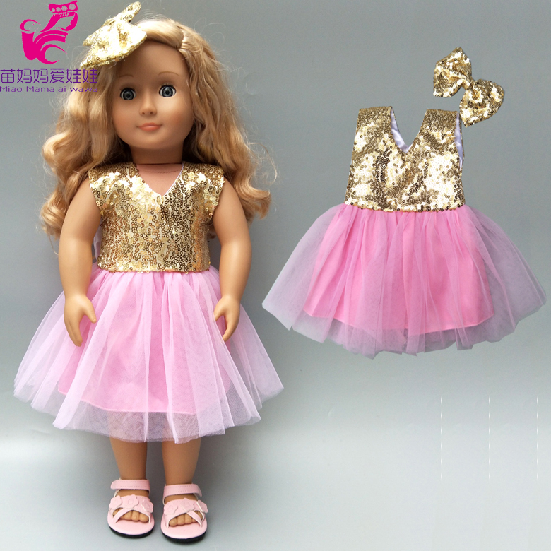18inch American Doll Sequin Pink Lace Dress With Bow New Born Baby Doll Clothes Out Wear