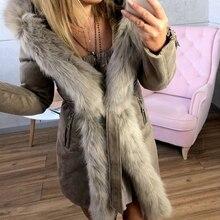 Chaquetas con capucha abrigos para mujeres medio-largo de felpa cuello sólido cinturón Parkas 2019 cálido piel suave Outwear Otoño Invierno chaqueta de más tamaño