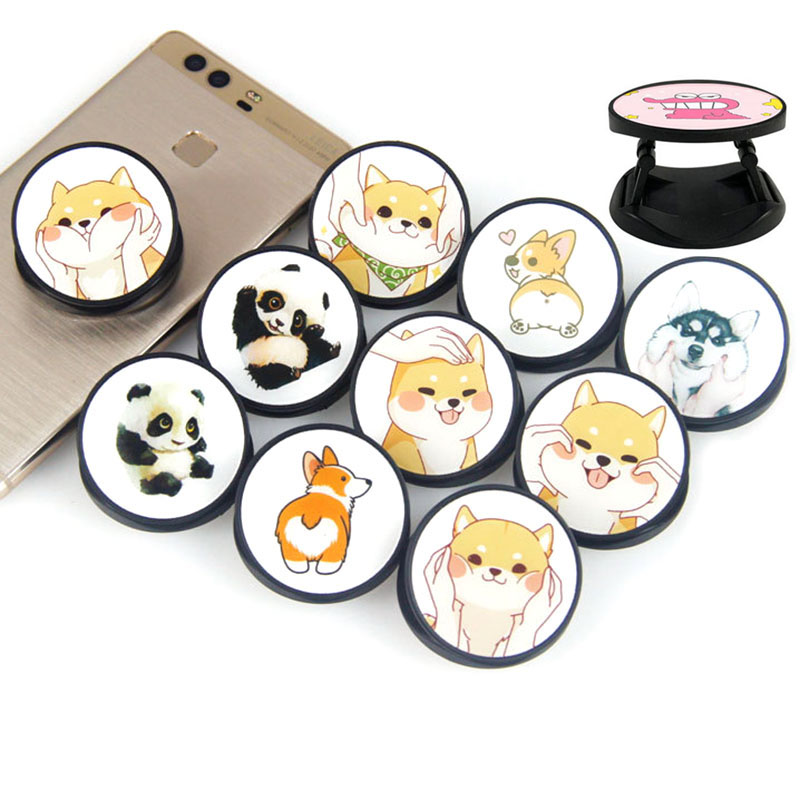 Cartoon Cute Panda Corgi Animals ABS Foldable Phone Bracket Grip Finger Ring Phone Holder For Mobile Stand Holder