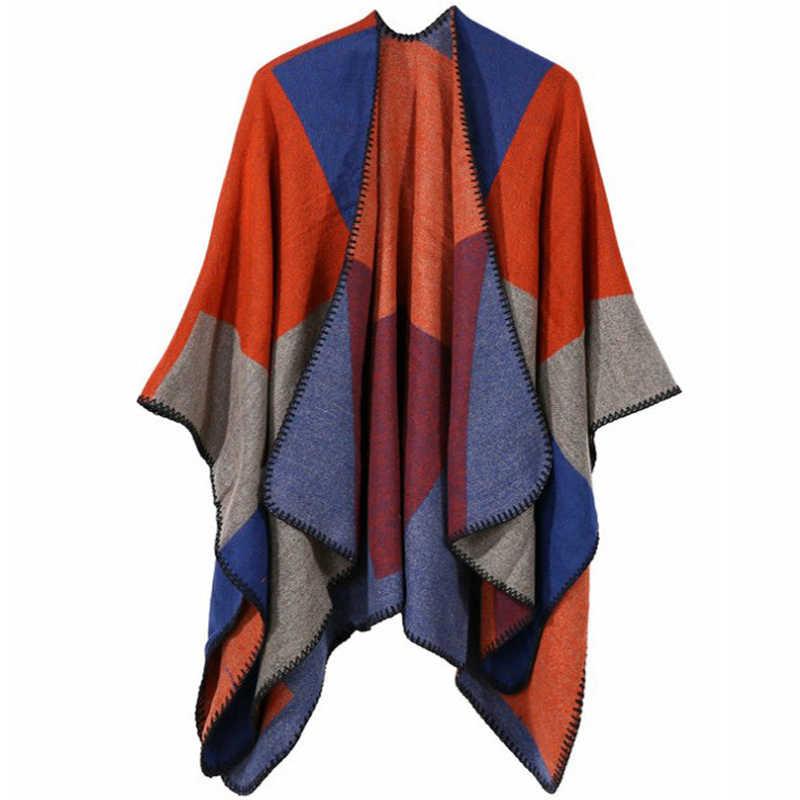 נשים של פרחוני Boho קימונו ארוך חולצה Loose חולצות להאריך ימים יותר גדול פונצ 'ו קייפ צעיף יוקרה פשמינה מרגיש צעיף טוניקת M202
