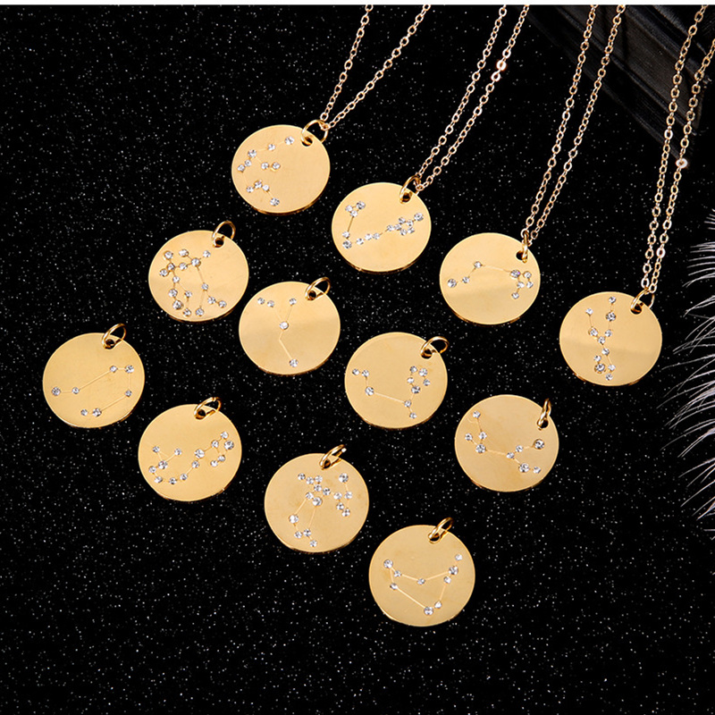 CHENGXUN Fashion 12 Constellation Necklaces & Pendants Star Zodiac Sign Gold Chain Necklace Women Stainless Steel Jewelry Gift