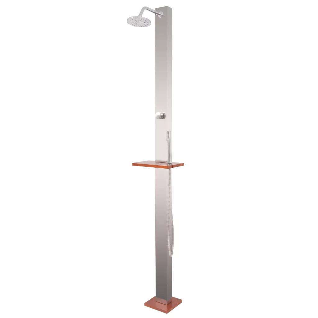 VidaXL Outdoor Shower Brushed Brushed Stainless Steel Body And Wooden Base Outdoor Shower With A Wooden Shelf And Switching