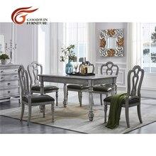 Mesa de muebles de comedor vintage gris de madera y silla de cuero y aparador WA428