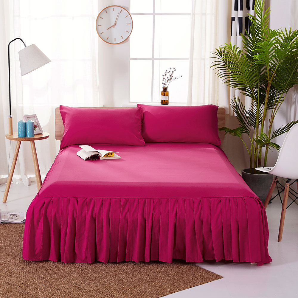 1pc Sanding Bedspread Solid Color Fitted Sheet Cover Soft Non-Slip King Queen Bed Skirt Protector Bed Mat Cover 1.2m/1.5m/1.8m 9