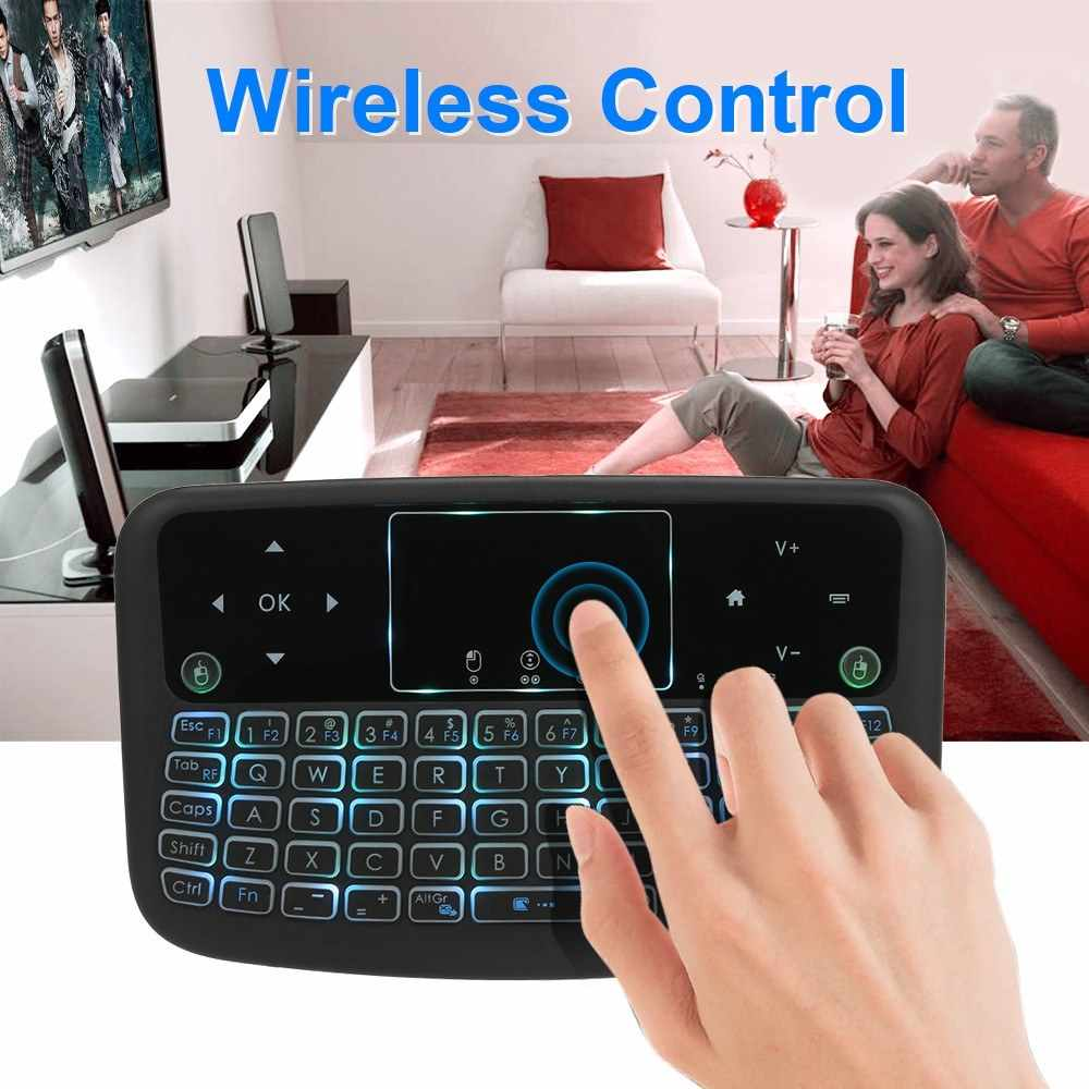 A36 Mini Keyboard Nirkabel 2.4G Warna Backlit Udara Mouse Touchpad Keyboard untuk Android TV Box Smart TV PC PS3