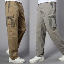 Artı boyutu büyük erkek kargo pantolon Casual erkek elastik bel çok cep genel pamuklu pantolonlar erkek uzun Baggy büyük pantolon 5XL