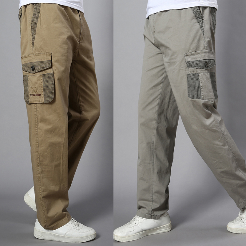 Plus Size Big Men Cargo Pants Casual Men Elastic Waist Multi Pocket Overall Cotton Pants Male Long Baggy Large Trouser 5XL