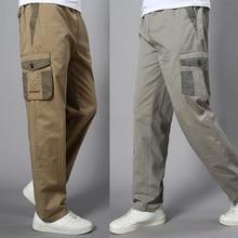 Plus Size Big Men Cargo Pants Casual Men Elastic Waist Multi Pocket Overall Cotton Pants Male Long Baggy Large Trouser 5XL