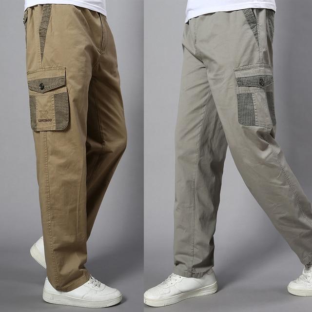 Plus Size Big Men Cargo Pants Casual Men Elastic Waist Multi Pocket Overall Cotton Pants Male Long Baggy Large Trouser 5XL 1
