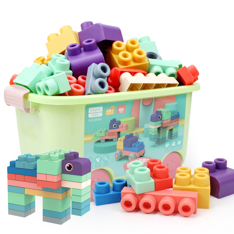 Boxed Baby Toy 3D Soft Building Blocks Compatible Touch Hand Soft Teethers Blocks DIY Rubber Block Toy For Baby Birthday Gift