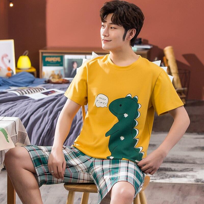 Men Comfortable Pyjamas Plus Size 3XL 4XL 5XL Short Sleeve Casual Home Wear Summer Cotton Boy Pajama Sets Leisure Sleepwear Set