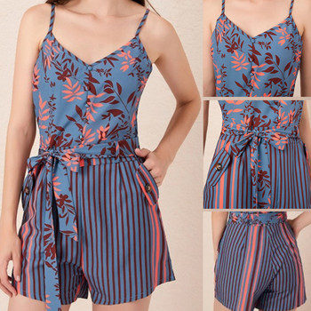 2020 NEW Women's Summer Print Jumpsuit Casual Slim Short Sleeve V-Neck Beach Rompers Sleeveless Bodycon Sexy Playsuit