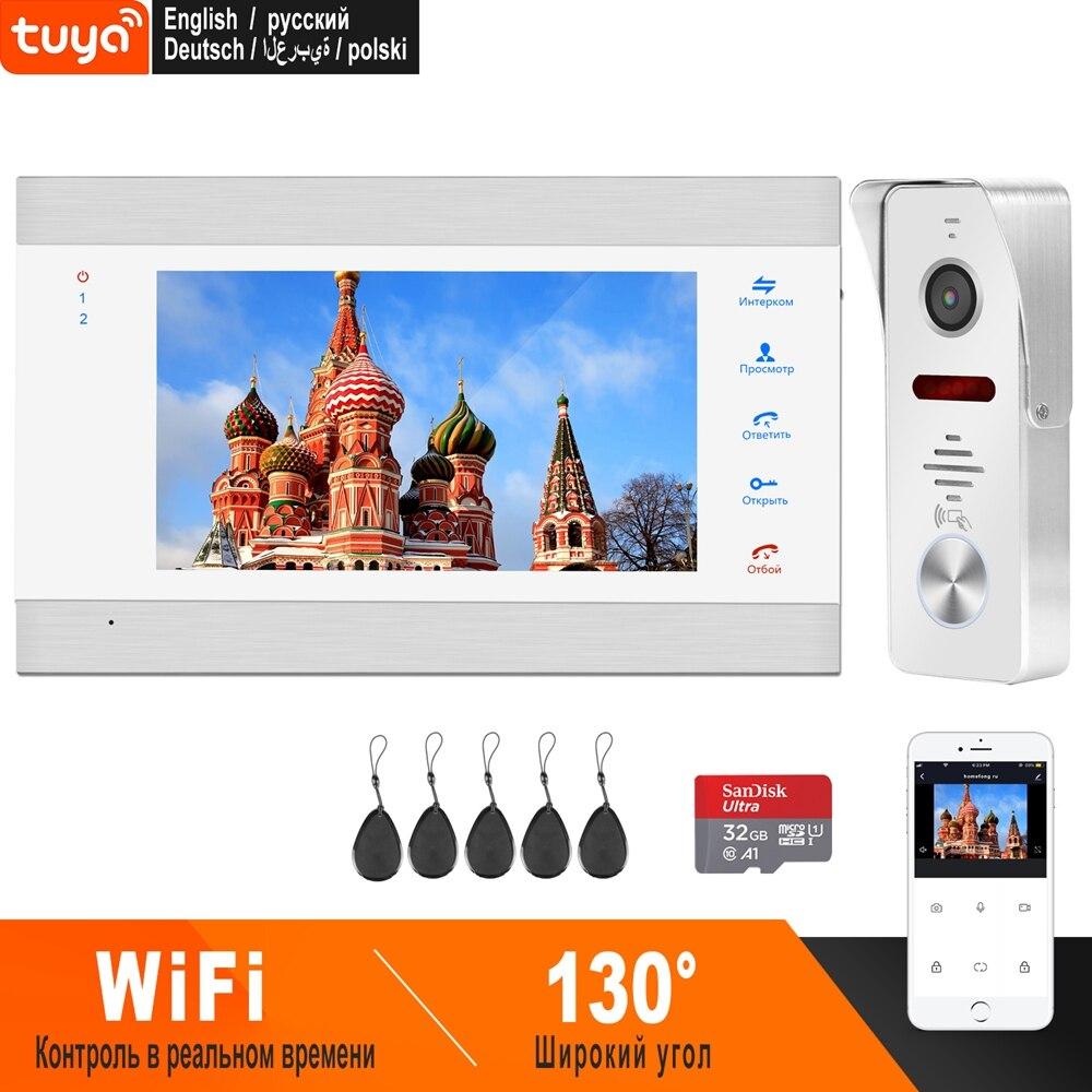 HomeFong WiFi Video Intercom 7 Inch Video Door Phone IP Smart System HD 960P Wide Angle Door Camera Support Swiping Card Unlock