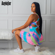 Auyiufar Tie Dye Blackless Bandage Playsuit For Women Sexy Fashion Print Sleeveless Females Romper Casual Streetwear Bodycon