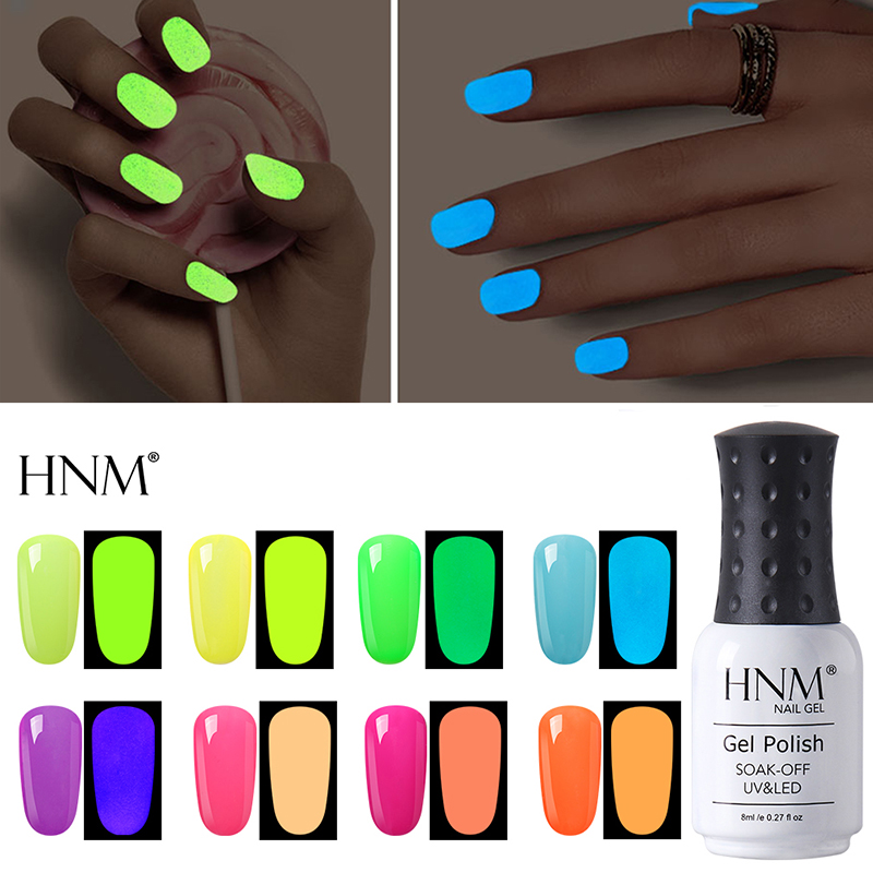 HNM 8ml UV Gel Night Glow In Dark Nail Gel Polish Lucky Lacquer Varnishes Soak-off UV LED Fluorescent Neon Luminous Colors