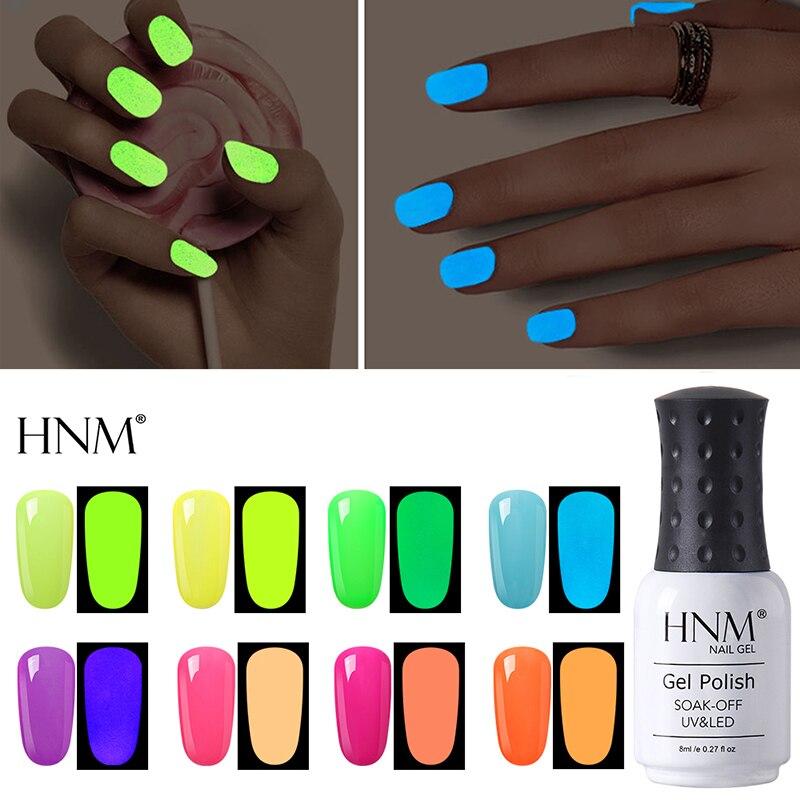 HNM 8ml UV Nail Gel Night Glow In Dark Nail Gel Polish  Fluorescent Luminous Lucky Lacquer Varnish Soak-off UV LED Long Lasting
