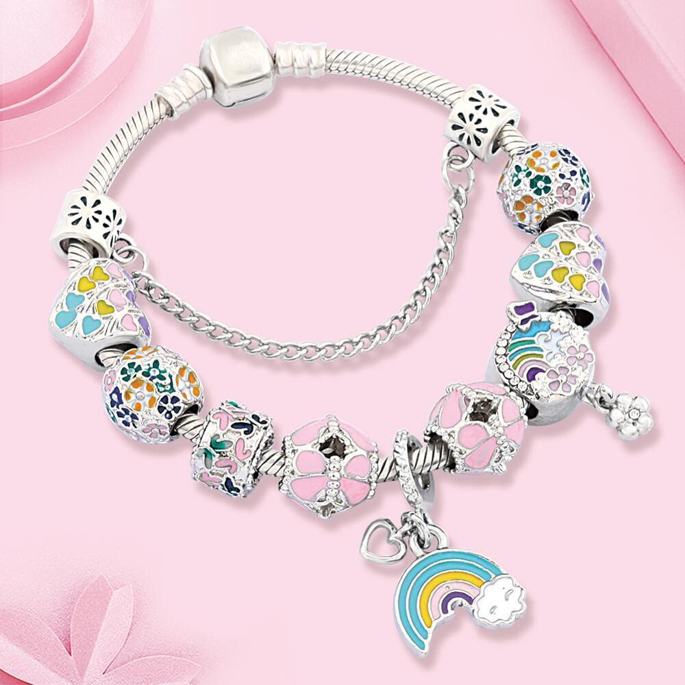 Dropshipping Hot Multi Color Blooming Flowers Charm Bracelet Trendy DIY Rainbow Moon Heart Bead Bracelet for Women Girl Gift(China)