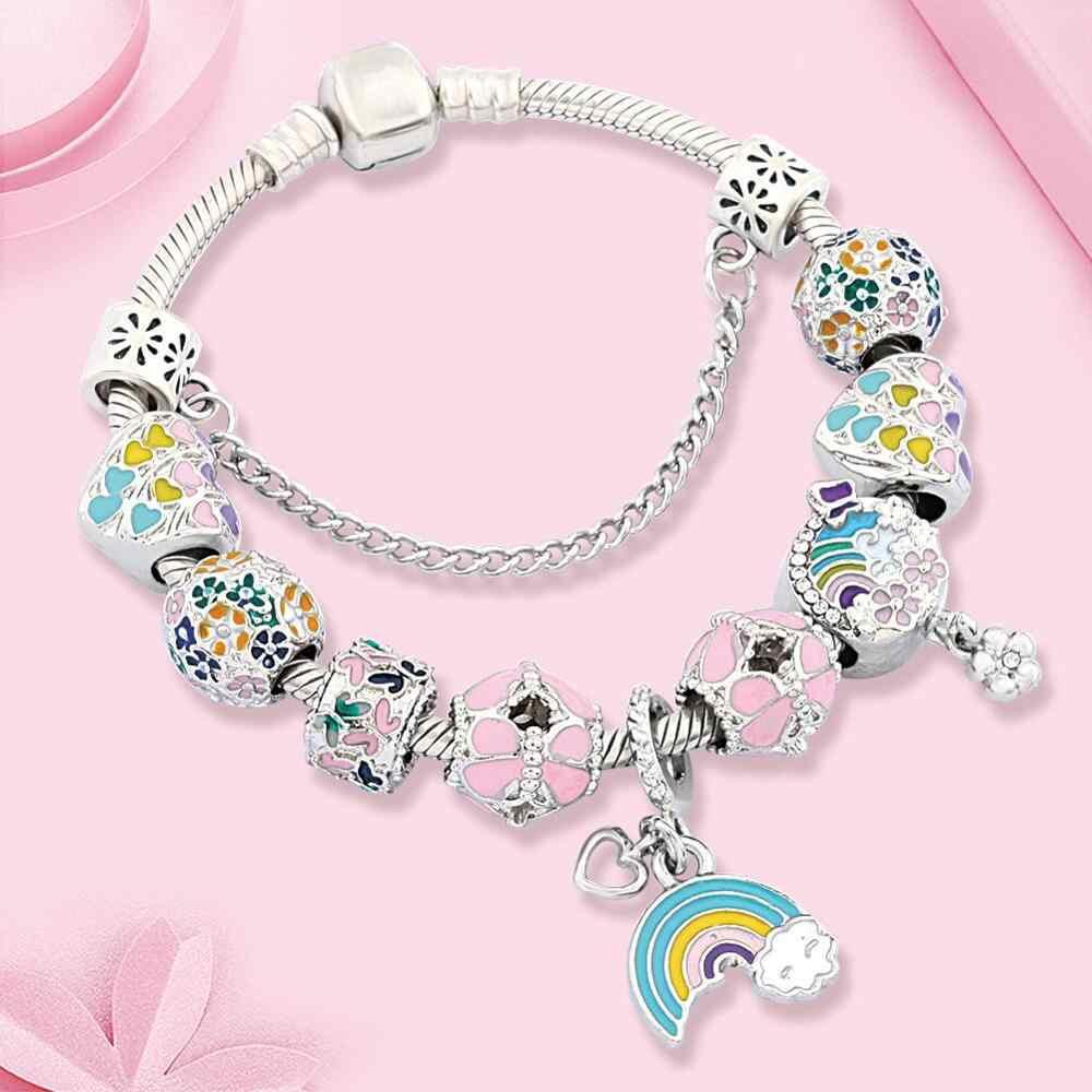 Pulseira feminina pingentes de arco-íris, multicores, bracelete colorido, presente para meninas e mulheres