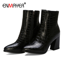 ENMAYER Pointed Toe Ankle Square Heel Women Boots Fleeces Checkered High PU Black Gray Red Heels Shoes Platform