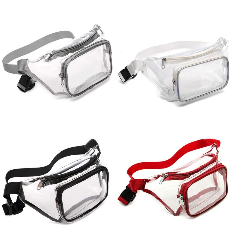 Galleria fotografica Fashion Men Women Transparent Waist Fanny Pack Belt Bag Unisex Travel Hip Bum Bag Small Purse Phone Pouch Shoulder Chest Bag