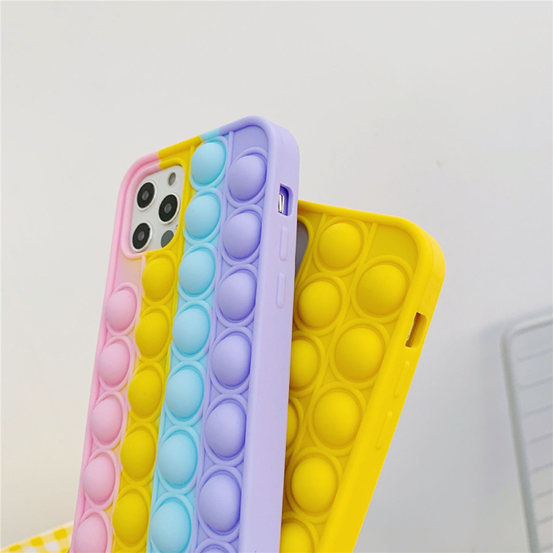 For iPhone 12 Pro Max 11 7 8P XS XR X Case Cover Reliver Stress Pop Fidget Toys Push It Bubble Antistress Sensory Game Adult Kid