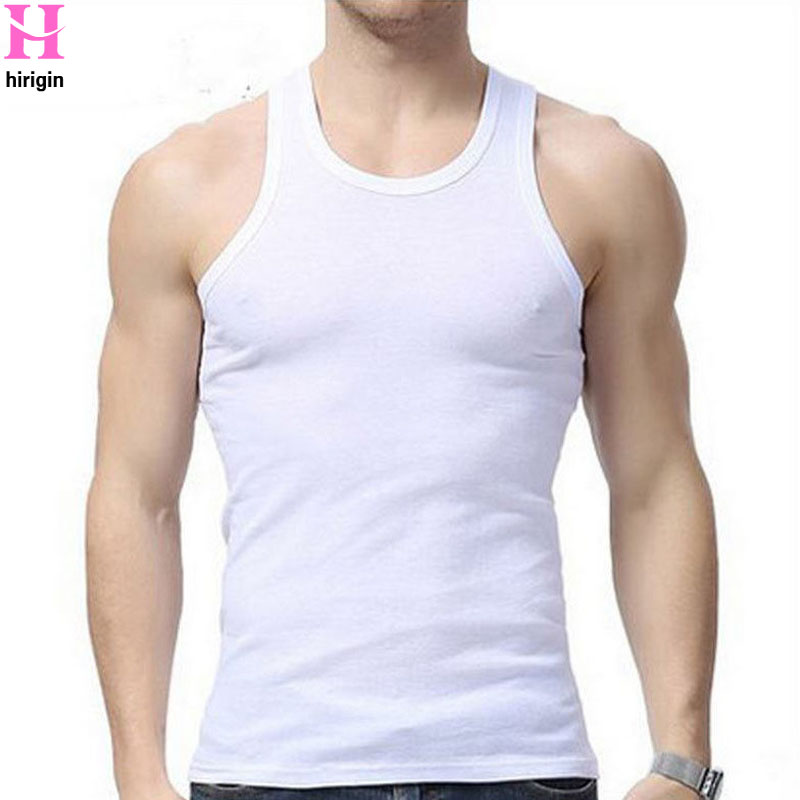 Fashion New Plus Size Men's Close-fitting Vest Fitness Elastic Casual O-neck Breathable  All Cotton Solid Undershirts Male Tanks