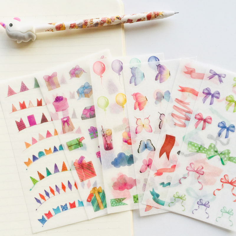 6 Sheets /Pack Sweet Candy Bow Ribbon Butterfly Balloon Decorative Stickers Decoration
