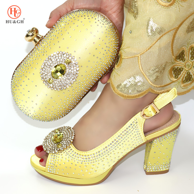 Yellow Italian Shoes With Matching Bags 2019 Shoe And Bag Set For Party Nigerian Women Party Pumps With Purse Women High Heels
