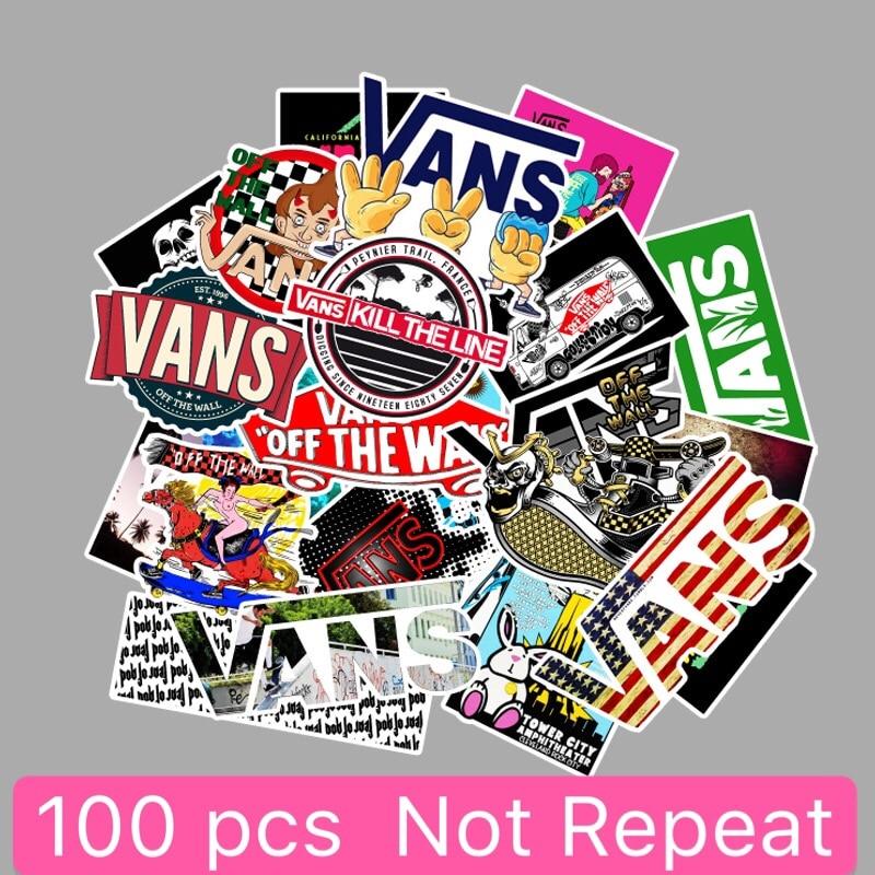100Pcs/Set Cartoon Cute Doodle Sticker Brand Skateboard PVC Waterproof Wallpaper Suitcase Laptop Guitar Car