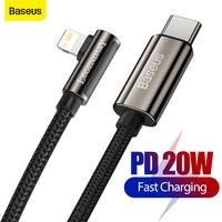 Baseus PD 20W USB C Kabel Für iPhone 12 Pro Max Schnelle Lade Ladegerät für iPad Typ-C USB C Daten Draht Schnur PD 90 Grad Ellenbogen